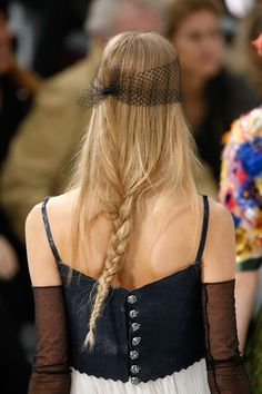 Interesting combination- corset style top, braid, and lace eye mask.  Chanel Spring/Summer 2015 Couture Detail