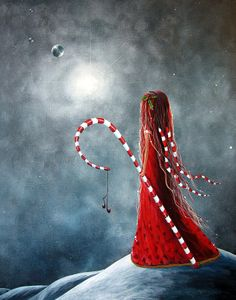 Candy Cane Fairy By Shawna Erback Painting - Candy Cane Fairy By Shawna Erback Fine Art Print
