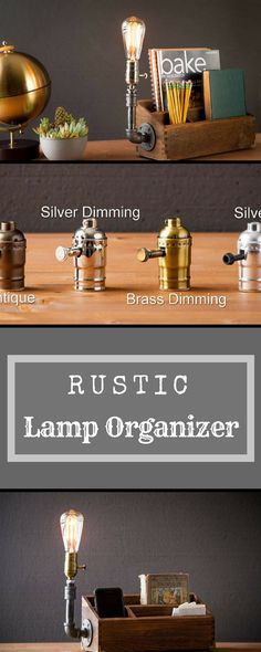 Rustic Pipe Organizer, Desk organizer lamp/Rustic Home decor/Steampunk Table lamp/Industrial lamp/Steampunk light/housewarming gift/gift for men/desk accessories #rustic #office #rusticdecor #ad