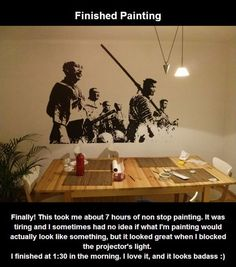 cool-Seven-Samurai-wall-painting-technique-finished Site details how to transfer cool picture to wall...great idea