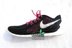 Blinged Nike Free 5.0  Black / Pink  Made with SWAROVSKI® Crystals- New In Box
