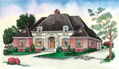 This house plan has 4 Bedrooms, 2.5 Baths in a Split Plan   10' Ceilings in Bedroom 2 & Dining  10' Raised Ceiling in Master/Den  12' Ceiling in Foyer   Open Columns in Dining  Large Gourmet Kitchen/Breakfast  Spacious Utility w/Built-In Cabinets  Classic Country- French Styling W/Clay  Tile Hips & Ridges       Living Area: 2387 sq. ft.  Total Area: 3075 sq. ft.  Unique Home design floor plan