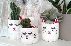 Boho Stil, Fancy, Plastic Bottles, Flower Pots, Planter Pots, Kitten, Batman, Pets, Crochet