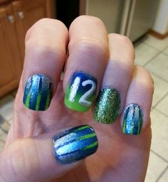 My nails for the 1-11-14 Seahawk game!! GO HAWKS!!! Win