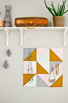 Save this DIY organization project to make a geometric memo board for your home.