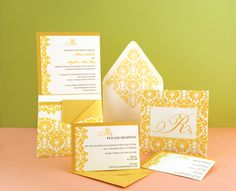 Gold/Custom Printed Wedding Invitation  - Click on the photo to be taken to our gallery room to view all of the elements used in this design or to view other customisable wedding invitation sets that we offer.