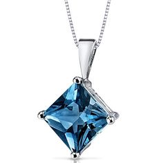 14 Karat White Gold Princess Cut 300 Carats London Blue Topaz Pendant *** You can find out more details at the link of the image.Note:It is affiliate link to Amazon. #commentbackteam
