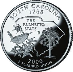 """South Carolina became the state in 1788 (see statehood order) - the state quarter also features an outline of South Carolina, the state bird, state tree, state flower, and the state nickname: """"The Palmetto State - public domain"""