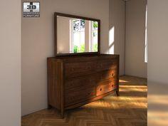3D Model Ashley Ashlyn Dresser Mirror c4d, obj, 3ds, fbx