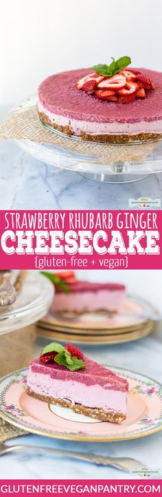 Strawberry Rhubarb Ginger Cheesecake - vegan + gluten-free. The sweetness of the strawberries pairs perfectly with the tang of rhubarb and a little kick of fresh ginger. | glutenfreeveganpantry.com