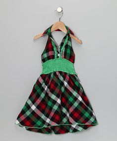 Take a look at this Green & Red Plaid Halter Dress - Toddler & Girls by Lele for Kids on #zulily today!