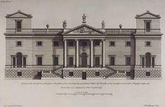 Die Fassade von Houghton Hall aus Colen Campbells Vitruvius Britannicus. Die Ecktürme wurden beim Bau durch Kuppeln ersetzt. Whig headquarters, Houghton Hall (Norfolk) – Twin cupolas were later added to the towers.