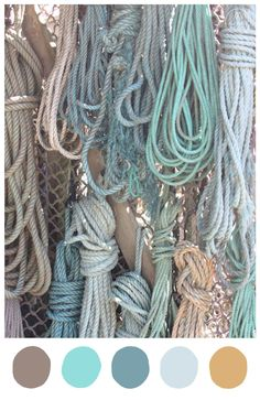Spring colour palette inspired by coastal hues of driftwood, aqua, seafoam, shell and sand