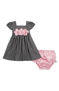 Free shipping and returns on Sweet Heart Rose Short Sleeve Dress (Infant) at Nordstrom.com. Sweet satin flowers front a delightful dress with short gathered sleeves. Matching satin bloomers complete the look.