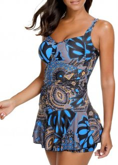 Ruched Printed Padded Spaghetti Strap Swimdress