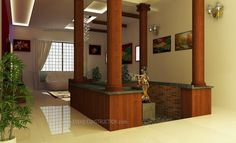 Center courtyard for Kerala home  wooden pillers small courtyard near to living area False ceiling with strip lighting