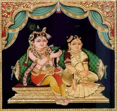 little krishna painting Tanjore Painting Radha Krishna