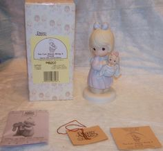 Precious Moments-Girl w/Puppy in Blanket-1991 Limited Edition MIB inscribed Sam