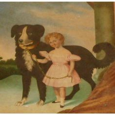 Watercolour Of Newfoundland Dog & Child c1850