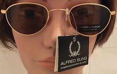 Vintage NOS Alfred Sung Gold Rim Retro Sunglasses With Original Tags! Free Ship! | eBay