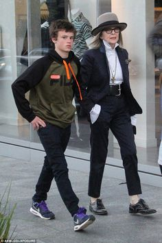 Mommy and me time: Diane Keaton appeared in high spirits as she took her youngest, 15-year-old Duke, shopping in Beverly Hills on Tuesday