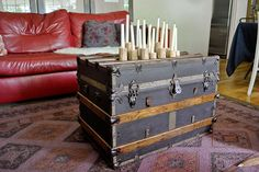 Painted Steamer Trunk | Beautiful Matters - love the idea of this as a coffee table