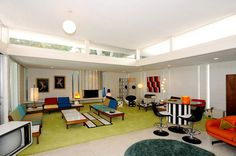 Looks like a rec room or living room to me. 1950s Living Room, Midcentury Modern, Living Spaces, Mid Century, Shelves, Contemporary, Interior Design, House Ideas, David