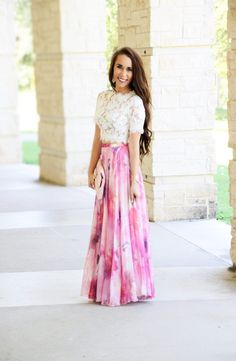 Watercolor Pink Floral Maxi Skirt - Sunshine & Stilettos Blog (Instagram: @katlynmaupin)