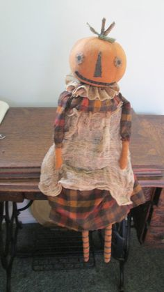 Primitive Pumpkin Doll by Bettesbabies on Etsy, $52.00