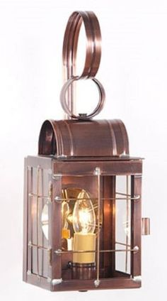 COLONIAL WALL LANTERN Antique Copper Sconce Handcrafted in USA