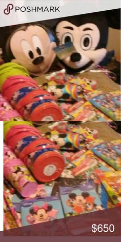 Everything you need for a mickey mouse party Mickey mouse mascot,buckets, air walker balloons,big pencils,bubbles,mickey tattoos,invitations, mickey balloon heads ,mickey coloring packs,mickey cups..colored table clothes..cupcake stands..mickey popcorn and snack cups Disney Accessories