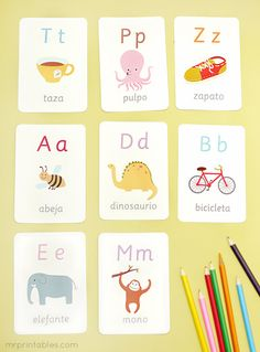 Tarjetas del alfabeto ilustradas para imprimir