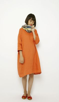30 days coordinate/ niko and. Librarian Style, Orange Dress, Linen Dresses, Simple Dresses, Dress Making, Professional Look, Plus Size Fashion, How To Look Better, Personal Style