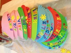 Summer visors for kids - put this together as a end of school year gift for my daughter's 1st grade class.