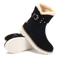 Large Size Buckle Button Boots For Women