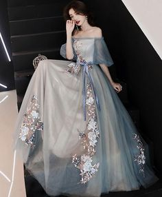 Prom Dresses Beautiful, Gray blue tulle lace long prom dress, gray blue evening dress, Looking for the perfect prom dress to shine on your big night? Prom Dresses 2020 collection offers a variety of stunning, stylish ball. Elegant Dresses For Women, Pretty Dresses, Beautiful Dresses, Bridesmaid Dresses, Prom Dresses, Formal Dresses, Wedding Dresses, Dress Prom, Sexy Dresses