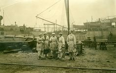 The Wallsend Slipway and Engineering Company Limited, which constructed 'Mauretania's turbines, with female workers in the yard. ND 1914-1918
