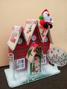 Love the tartan house idea but not the goofy doll! An English Christmas _ by Lilicutes English Christmas, Christmas Home, Christmas Crafts, Christmas Decorations, Xmas, Christmas Ornaments, Holiday Decor, Putz Houses, Glitter Houses