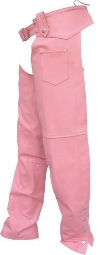 Womens Pink Cowhide Leather Motorcycle Chaps by Allstate Leather. www.mymotorcycleclothing.com #harleydavidsonchaps