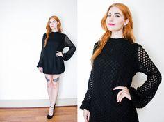 Vintage 1960s Dress  Black Knit Mini GoGo by dejavintageboutique