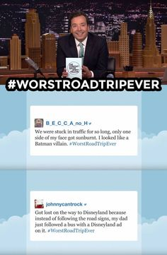 The Tonight Show Starring Jimmy Fallon Page Liked · 6 mins · Jimmy reads some of your funniest #WorstRoadTripEver tweets. Have a worst road trip story of your own? Share it below! WATCH: https://www.youtube.com/watch?v=tx-6MMeLDXo&list=UU8-Th83bH_thdKZDJCrn88g&index=4