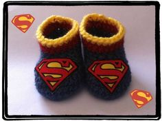 Superman Baby Booties Handmade Crochet Newborn to 3 months #Handmade #Booties