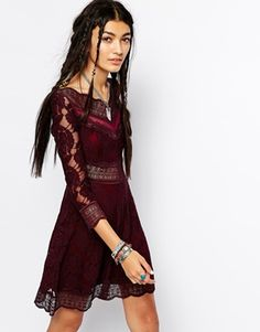 oh so pretty bugundary red boho lace dress