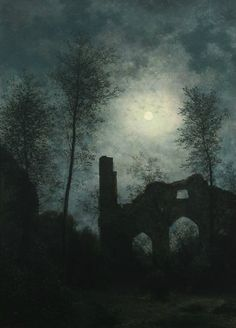 Moon lit ruin (1901) by Georg Emil Libert (Danish, 1820–1908) Oil on panel, 44 × 31 cm (17.3× 12.2 in.) http://simena.tumblr.com/post/104523707276/georg-emil-libert http://41.media.tumblr.com/b420231ebd7f02829215e9a75a1297a4/tumblr_ntddurC9IZ1qdxn3oo1_500.png https://en.wikipedia.org/wiki/Georg_Emil_Libert