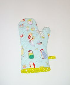 Owl+Oven+Mitt+-+Whimisical+Owls+on+Light+Blue+-+Gift+Under+20+-+Gift+for+Foodie