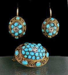 EARLY VICTORIAN 9CT GOLD EARRINGS & BROOCH WITH TURQUOISE & ROSE CUT DIAMONDS