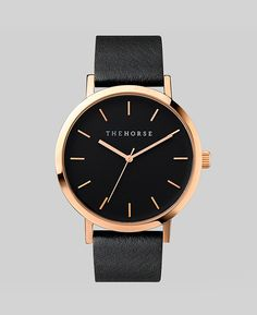 The Horse - Rose Gold / Black Face / Black Leather Watch