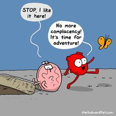 Today on The Awkward Yeti - Comics by Nick Seluk Funny Cartoons, Funny Comics, Funny Jokes, Hilarious, Happy Comics, Funny Insults, Akward Yeti, The Awkward Yeti, Heart And Brain Comic