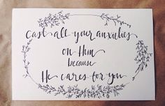 The beauty of this verse never ceases to satisfy or fill my heart with so much warmth. God cares for you. He doesn't want you to continually bear those anxieties alone, love. Turn them over to Him + trust that He will take care of you.  Photo via: //@Kathryn Whiteside Whiteside Birkey//