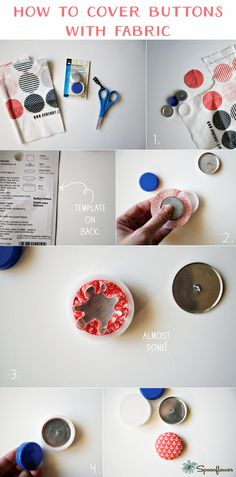 Learn to make fabric-covered buttons from a fat quarter of pretty patterned circles, and then use them in assorted cute projects. Fabric Covered Button, Covered Buttons, Sewing Hacks, Sewing Crafts, Sewing Tips, Diy Girlande, Fabric Jewelry, Diy Jewelry, Jewelry Making